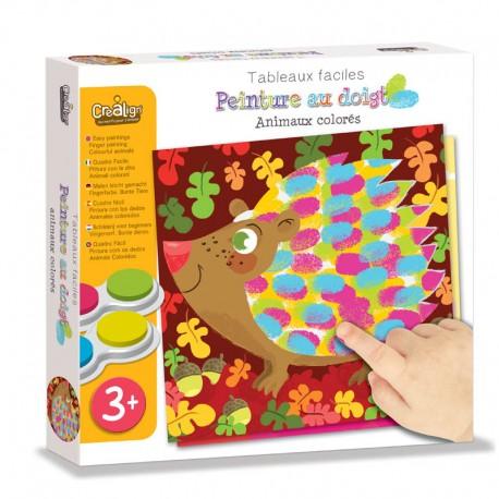 """Tableaux Faciles, Peinture au doigt """"Animaux colorés"""""""