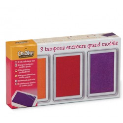 Set of 3 inkpads, packed in a storage box. Orange, red and purple