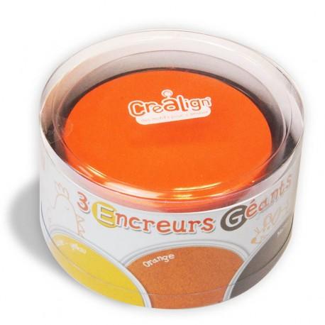 Pack 3 Encreurs Géants Ronds jaune, orange et marron