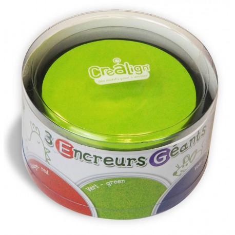 Pack 3 Encreurs Géants Ronds rouge, vert et violet